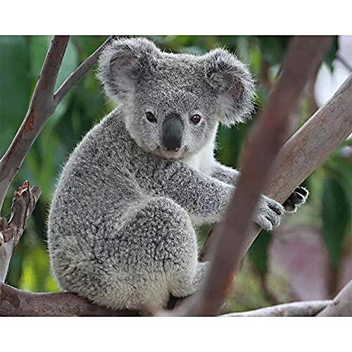 DIY 5D Pintura Diamante por Número Kit Koala gris Full Drill Diamond Painting Adultos Niños Cristal Rhinestone Bordado Punto De Cruz Lienzo Artesanía Hogar Pared Decor Regalo 60x90cm E2035