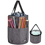 HOMEST XL Yarn Storage Tote, Tangle Free with 6 Oversized Grommets, Knitting and Crochet Organizer, Large Craft Supplies Bag with Drawstring Closure, Grey (Patent Design)