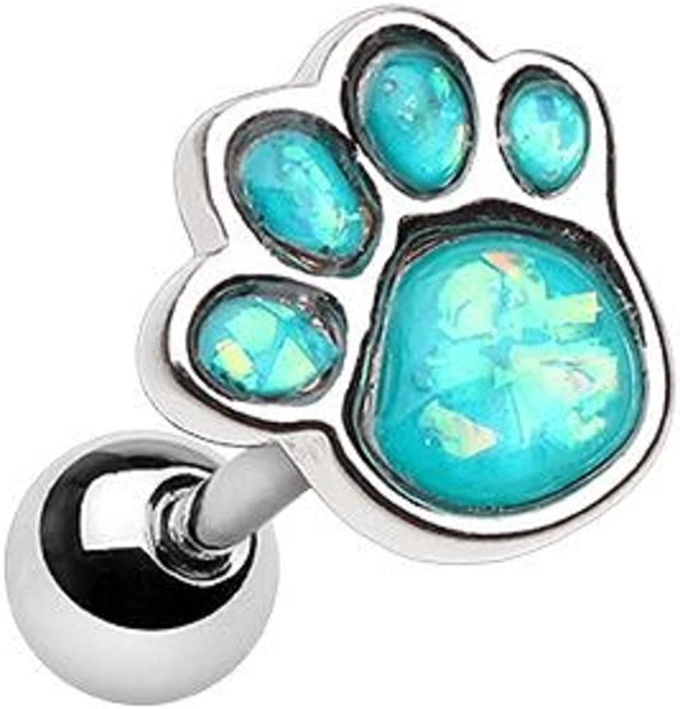 Discount is also underway Animal Large-scale sale Lover Opal Paw Print Earring Tragus Cartilage WildKlass