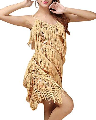 SaiDeng Donne Eleganti Art Deco Paillettes Nappa Vestito Abbigliamento per La Danza Latino Oro