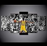 183Tdfc Poster di Kobe Bryant Stampe E Quadri su Tela 5 Pezzi Tela Stampa Moderni Soggiorno Cameretta Decor Arte HD Murale (con Cornice)