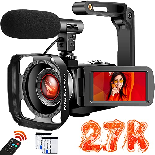 Video Camera Camcorder with Microphone Ultra HD 2.7K 30MP YouTube Vlogging Camera 3.0 Inch IPS Touch Screen 16X Digital Zoom Camera Recorder with Handheld Stabilizer and Remote Control…