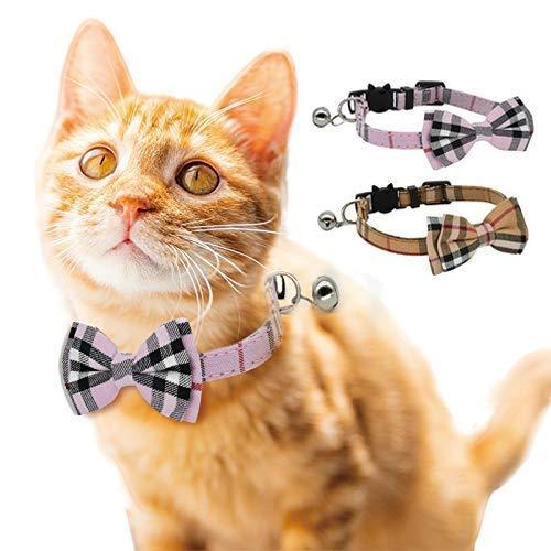 DAIXI Katt krage breakaway med söt fluga och klocka för Kitty och några valpar, justerbar från 7,8-10,5 tum, 20cm-35.5cm Neck, Rosa + brun