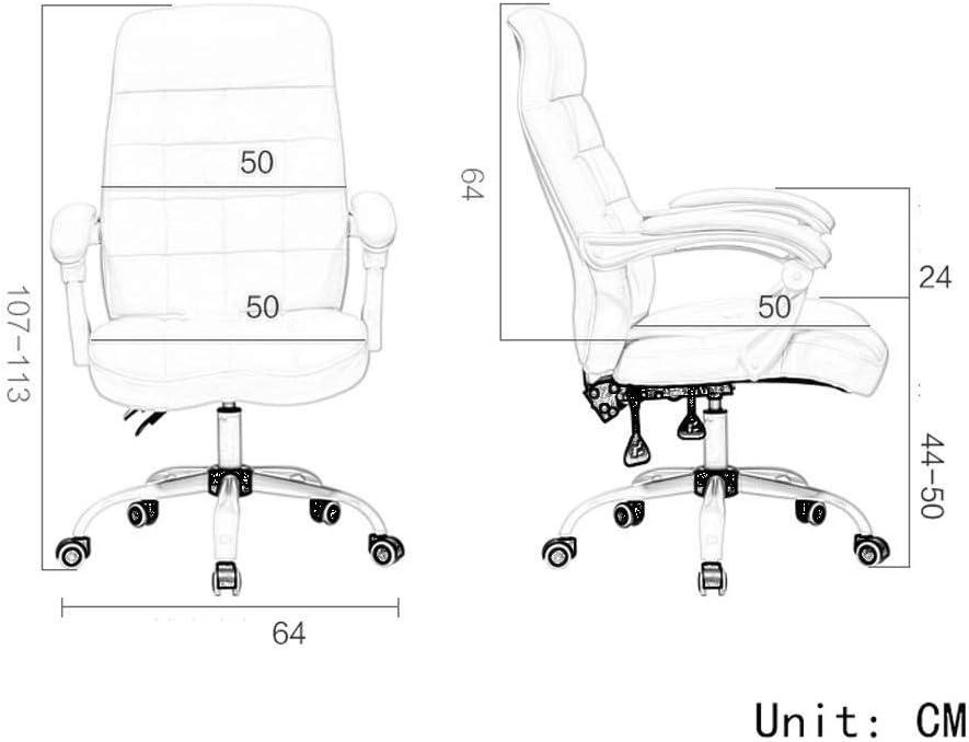WJJ Fauteuil Relax Ordinateur Chaise Maison Confortable Bureau Reclining Tabouret Chaise Chaise pivotante Chaise d'ancrage Esports Fauteuil Relax Jardin (Color : White) Black