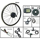 GJZhuan Bicicleta eléctrica E Bicicleta Kit de conversión de Cassette Trasero Cubo de Rueda Motor 24V 250W con KT LCD5 Display 16-28 Pulgadas 700,700C LCD Sets