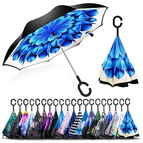 ZOMAKE Inverted Umbrellas, Innovative Umbrellas Double Layer, Windproof Umbrella, Free Hand, Reversed Umbrella with C Handle for Car Outdoor (Blue Flower II)