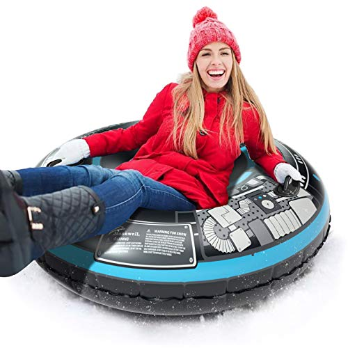 Jasonwell Snow Tube Inflatable Snow Sled Toboggan Snow Toys for Kids and Adults Heavy Duty 47 Inch Inflatable Snow Tube Winter Outdoor Toys for Kids and Adults