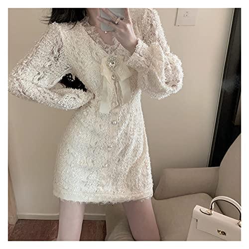 LYNLYN Vestidos de cócteles para Mujer Diseñador Runway Lace Mujer Vestido Linterna Sleeve V Cuello Diamante V Cuello Mini Vestidos Fiesta (Color : Apricot, Size : L)