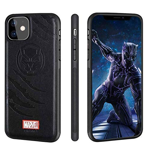 NARYM - Leather Case for iPhone 12 Pro Max with Avengers Character - Black Panther, Black