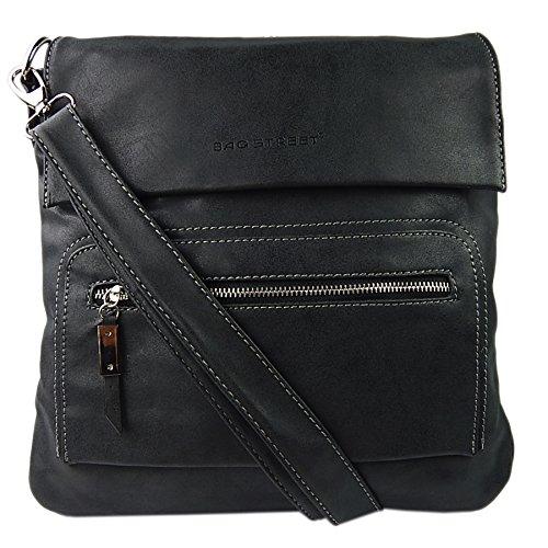 Schultertasche Used Look Handtasche Umhängetasche Shopper Tasche Bag Street (Schwarz)