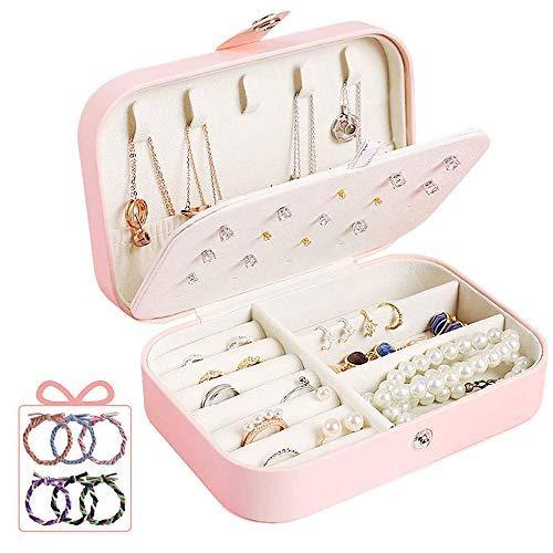 Caja organizadora de joyas de viaje, caja de joyería fácil de llevar para viajes, estuche de joyería de regalo para mujeres, niñas (orejas, collar, anillo, reloj, pulsera)