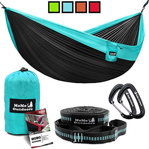 Lightweight Double Camping Hammock - Adjustable Tree Straps & Ultralight Carabiners Included...