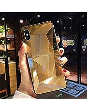 Uposao Compatible con Funda iPhone X/XS Purpurina Funda,Espejo Glitter Brillante Carcasa con 3D Geométrico Diseño TPU Slim Silicona Carcasa Funda Caso para iPhone X/XS,Oro