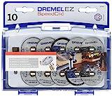 Kit d'Accessoires Dremel SC690 EZ SpeedClic - Coffret de Meules à Tronçonner pour Outil Mulltifonction Rotatif, 10 Disques á Tronçonner avec Mandrin