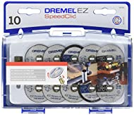 Dremel cutting accessory set (SC690) contains an assortment of 10 EZ SpeedClic cutting wheels and 1 mandrel in a convenient storage case 10 rotary tool cutt-off wheels for cutting in a variety of material such as metal, steel, brick, marble, copper, ...