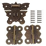 vite da appendere a scrocco a farfalla in bronzo antico da 60 mm (per lucchetto) con cerniere in ottone da 40 mm e viti per portagioie in legno decorativo