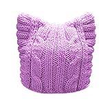 BIBITIME Handmade Knit Pussycat Hat Women's March Parade Cap Cat Ears Beanie (Adult-Purple, Reference)