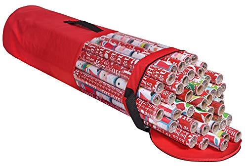 ProPik Wrapping Paper Storage Bag, Christmas Gift Wrap Organizer Stores Up to 24 Rolls 40 Inch, Heavy Duty Polyester plus PVC Clear Bag with Handles