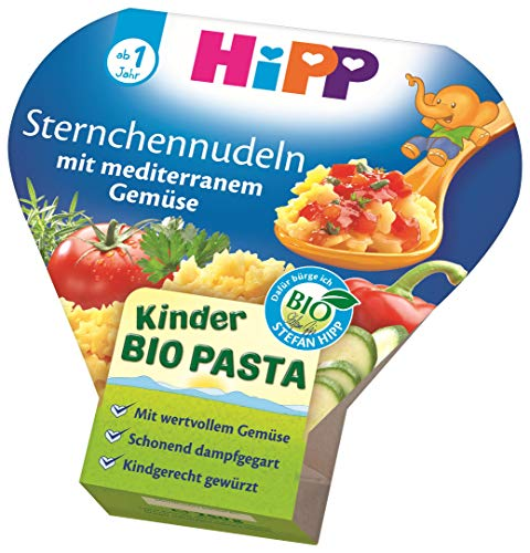 HiPP Bio für Kinder Pasta - Sternchennudeln mit mediterranem Gemüse, 6er Pack (6 x 250 g)