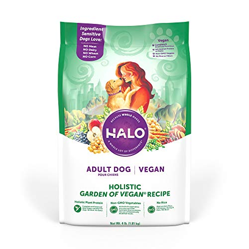 Halo Vegan Dry Dog Food - Premium and Holistic Garden of Vegan Recipe - 4 Pound Bag - Sustainably Sourced Adult Dry Dog Food - Non-GMO and Made in the USA