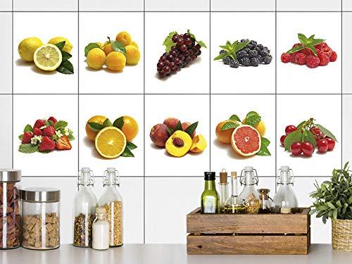 GRAZDesign tegelstickers keuken fruit op wit, tegelstickers tegels om op te plakken plakfolie voor keukentegels 20x25cm Set van 40 stuks.