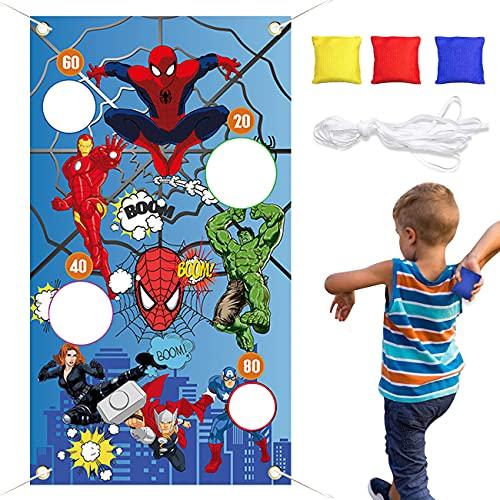 Tomicy Jeu de Lancer de Sacs de Sable, Fournitures de Fête de Superhero Spiderman, à l'intérieur et à l'extérieur,Jeu de Carnaval Amusant - Jeu de Lancement idéal pour Une fête de Carnaval