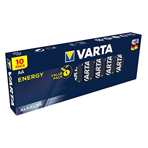 VARTA Energy AA Mignon LR6 Batterie (10er Pack) Alkaline Batterie - Made in Germany - ideal für Spielzeug Taschenlampe und andere batteriebetriebene Geräte