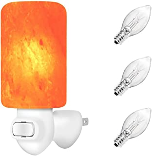 Unilamp Natural Himalayan Salt Lamp Night Light with 3 Bulbs(2 Extra Bulbs), Crystal Salt Glow Hand Carved Salt Lamp with UL-Approved Wall Plug for Air Purifying, Lighting, Decoration and Gift