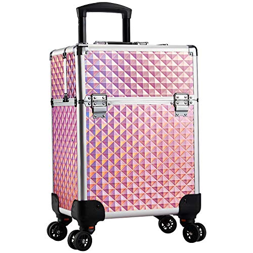 Stagiant Rolling Makeup Train Case Large Storage Cosmetic Trolley 4 Tray with Sliding Rail Removable Middle Layer with Key Swivel Wheels Salon Barber Case Traveling Cart Trunk - Pink Diamond