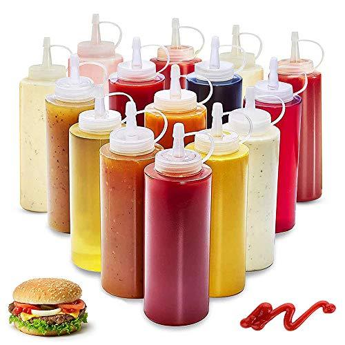 WELLXUNK® Squeeze Flasche aus Kunststoff, 20 Stück 4oz Plastik Quetschflasche, Condiment Flaschen BPA Frei, Aufbewahrungsbehälter für Ketchup Senf Mayo Soßen Olivenöl, Saucenflasche für Home