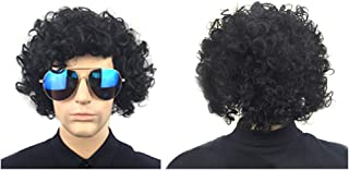 FRCOLOR Men Black Short Hair Wig European and American Style Natural Looking Exquisite Elastic Net Curvy Wig Cover