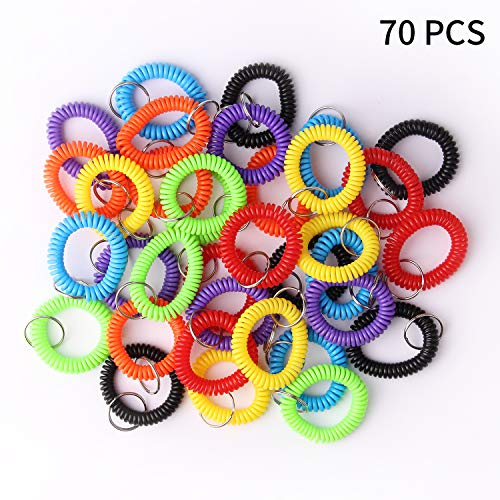 Arroyner 70Pcs Colorful Stretchy Keychain Bracelet Spiral Wristband Keychain for Outdoor, Gym