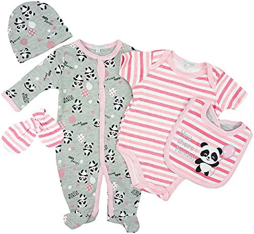 Nursery Time - Set de ropa para bebé, 5 piezas, diseño de panda Rosa. 62 cm-68 cm