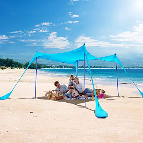 KMM Beach Tent Sun Shade with UPF50+ UV Protection,10X10ft Beach Canopy with 4 Poles, Pop Up Sun Shelter for Beach, Camping, Fishing, Backyard and Picnics