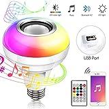 Haofy Bombilla Bluetooth Altavoz, E26 / E27 RGB Cambio de Color Bombilla de LED Inteligente USB con Bluetooth 4.2 Altavo, con Control Remoto para Fiesta, Hogar, Decoraciones...