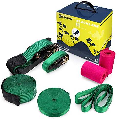 Slackline Kit with Training Line and Arm Trainer – Durable Ninja Slackline Set for Kids with Tree Protector and Carry Bag – Have Fun, Keep Fit and Improve Your Balance – Giftable Slackline