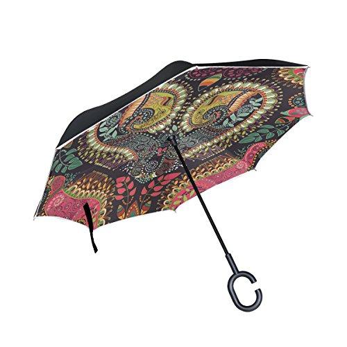XiangHeFu - Paraguas invertido de Doble Capa, diseño de Mandala de corazón, Resistente al Viento, protección UV, Ideal para Coche, con Mango en Forma de C