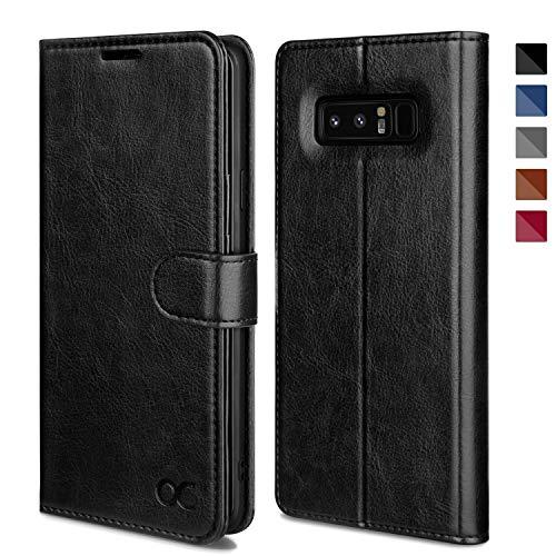 OCASE Galaxy Note 8 Hülle Handyhülle [Premium Leder] [Standfunktion] [Kartenfach] [Magnetverschluss] Schlanke Leder Brieftasche Hülle für Samsung Galaxy Note 8 Geräte Schwarz