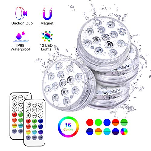 Unterwasser Licht LED, Tesecu Wasserdichtes LED Licht 13 LED RGB mit RF-Fernbedienung für Swimmingpool, SPA, Vasenbasis, Aquarium, Teich, Inneneinrichtung(4 Stk)