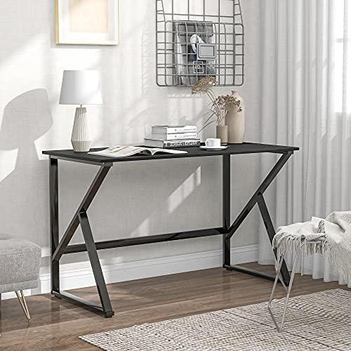 Mesa de escritorio para ordenador con patas en forma de K, fácil de montar, 120 x 60 x 75 cm, color negro