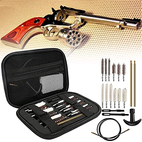 wsbdking Conjunto de pinceles de limpieza de armas, 19 PCS Pistola de pistola de pistola Kit de limpieza, 9 mm 22.27.30.38.40.45 Pelotes de bronce de bronce de bronce de múltiples calibre, trapeadores