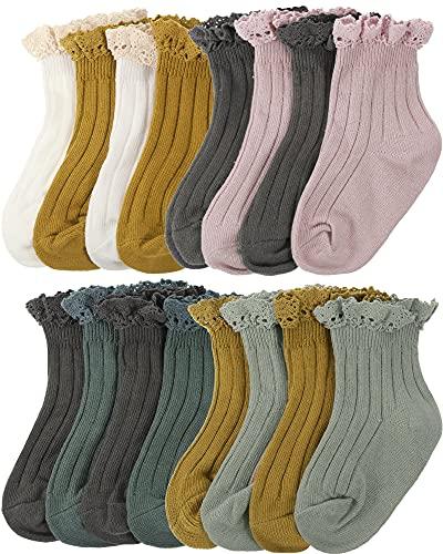8 Pairs Baby Girls Ruffle Socks Vintage Toddler Lace Socks Casual Ankle Socks Frilly Socks Toddler Ruffles Casual Dress Socks for Baby Girls