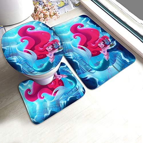 Ariel Bathroom Rug Set 3 Piece, Non Slip Bath Mat + U-Shaped Contour Rug + Toilet Lid Cover