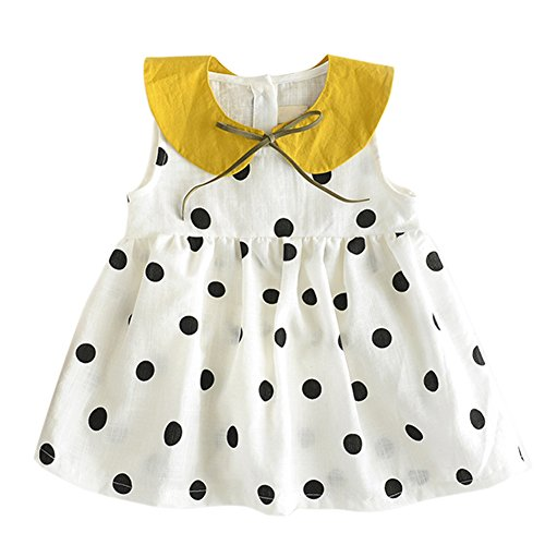 BOBORA Baby Girls Dress Polka Dot Print Sleeveless Top for Toddler Infant (S/12-24M, White)