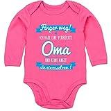 Shirtracer Sprüche Baby - Ich Habe eine verrückte Oma blau - 6/12 Monate - Fuchsia - Body Baby Langarm du wirst oma - BZ30 - Baby Body Langarm