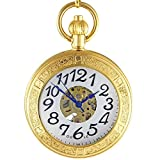 Ogle – Wasserdichte goldene selbstaufziehende mechanische Taschenuhr, große Kette,...