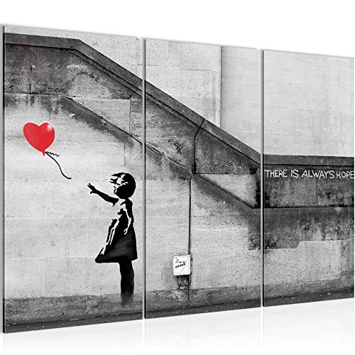 Runa Art Banksy Ballon Fille Peinture Tableau Salon XXL Rouge Art Urbain 120 x 80 cm 3 Parties Decoracion Murale 301631a