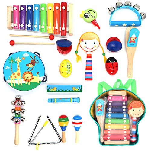 Musical Instruments for Toddlers,hasiben 17PCS 13 Types Wooden Percussion Instruments Tambourine Xylophone fit Preschool Education,Early Learning Musical Toys fit Boys and Girls with Storage Backpack