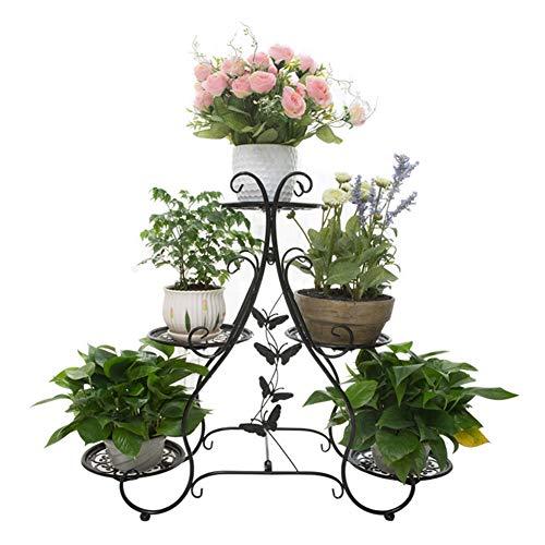 XIN Jardin Stand De Fleurs Pot De Fleurs Épaissir Art De Fer Multicouche Balcon Intérieur Étagère Gain De Place Multifonctionnel Fleur De Sol (Couleur : NOIR)