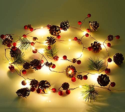Guirnalda de Navidad con luces   20 luces LED de cono de pino rojo Berry funciona con pilas, guirnalda de luces   decoraciones navideñas para el hogar   guirnalda para decoraciones de chimenea
